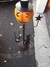 Metal Halloween Pumpkin Standing Porch Candle Holder Witch, Top Hat, Spider