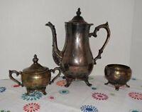 Rogers Silverplate Coffee Tea Serving Set Teapot Cream Sugar Antique Vintage
