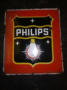 PHILIPS BULBS Vintage Old ORIGINAL Porcelain Enamel Sign Board 1940 RARE