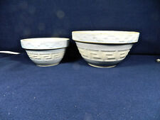 "TWO VINTAGE RED WING ""GREEK KEY"" PATTERN MIXING BOWLS - RARE 6"" & 8"" SIZES"