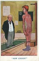 1917 VINTAGE COMIC ERNEST NOBLE DOCTOR & NAKED MAN NOW COUGH POSTCARD - USED