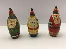 3 Wood Santa Claus Ornaments, Candy Holder