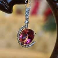 2Ct Oval Cut Pink Tourmaline Diamond Halo Pendant 14K White Gold Over Free Chain