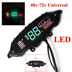 Electric Bicycle LED Speedometer Plastic Meter Odometer Power Display 48V-72V
