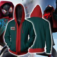 US! Mens Miles Morales Spider-Man Into Spider-Verse Hoodie Sweatshirt Jacket