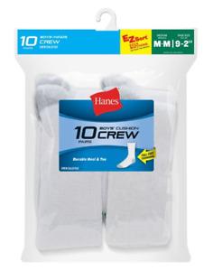 20 Hanes Boys Crew EZ Sort Socks 421/10