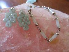 Stunning Sterling Silver, Jadeite 1asian Inspired Earrings.& Bracelet