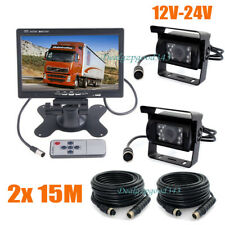 "2x18LED IR 4Pin CCD Reversing Camera 7"" LCD Monitor Rear View Kit Bus Truck Van"