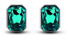Emerlad Green & Silver Rectangle Shape Large Size Presentable Stud Earrings E822
