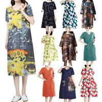New Womens Printing Loose Dress Short Sleeve O-Neck Knee-Length Casual Mid Dress