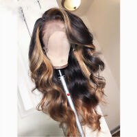 Lace Front Human Hair Wigs Ombre Honey Blonde Body Wave Brazilian Pre plucked