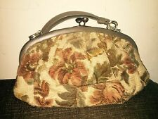 Vntg 50's CARPET Handbag PURSE  Bag W/attached Coin Purse.