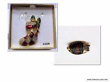 Christmas Pin Stocking Holiday Dazzle & Fish Christmas Brooch  Set of 2 Pins