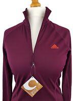ADIDAS Woman's T-Shirt - Orange Logo Long Sleeve Light weight Outdoor 10, 12, 14
