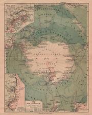 Antique map. SOUTH POLE & NORTH POLE. c 1909