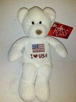 "Russ I Love USA White Bear NEW 8"" Plush Stuffed Animal"