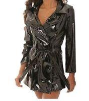 Trench vinyle, vinyl, veste, imper, imperméable, simili cuir, manteau, ceinture