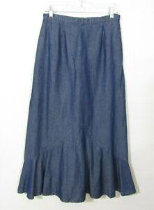 Coldwater Creek Tencel Denim Skirt Size Medium Long Modest A-line NO Slit