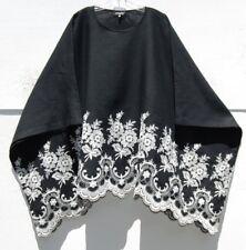 NEW Eskandar BLACK w/EMBROIDERED MEDIUM WEIGHT Linen Kaftan Tunic O/S $1990