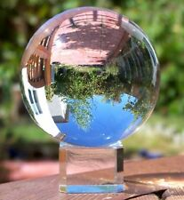 Garden Lawn Patio Crystal Meditation Ball Globe 80 Mm Clear Free Stand Decor New