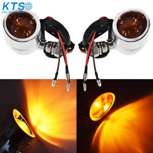 Chrome Motorcycle Bullet amber Turn Signal+Brake Stop+Running Tail Lights