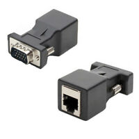 AU_ FP- KQ_ AU_ 2Pcs 15 Pin VGA Male to RJ45 Female Ethernet Adapter Connector L