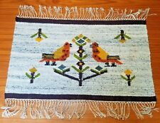 "2' 6"" x 1' 6"" (30"" x 18"") Wool Rug Mat of Tree Flowers Birds hand knotted fringe"