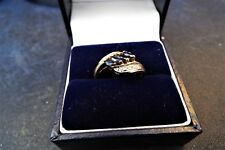9ct Gold Saphires & diamonds stones ring