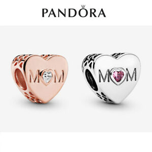 ALE S925 Genuine Silver Pandora Clear & Pink Mum Heart Charm With Gift Box