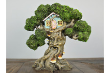 Vintage Magical Fairy Pixie Green Man Treehouse Home Garden Sculpture Ornament B