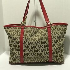 Michael Kors Extra Large Tote Purse Canvas MK Print With Red Leather Trim