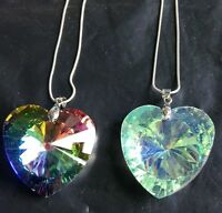 40mm Fashion heart Crystal Glass Pendants Vintage Statement chian Necklaces