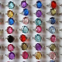 20pcs Wholesale Lots Mixed Crystal Rhinestone Silver Plated Rings Natural Stone
