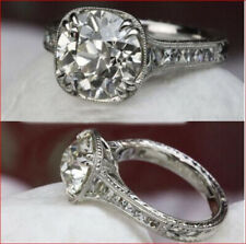 Moissanite Ring 925 Sterling Silver Vintage Engagement Wedding 2.0Ct White Round