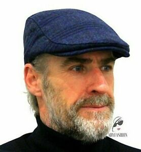Men's Flat Cap Navy Blue & Black Checked Traditional Gents Hat CHEAP Wool UK