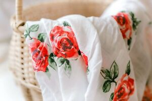 Muslin Swaddle Blanket, Red Rose Floral Print Newborn Baby Infant, Bamboo/Cotton