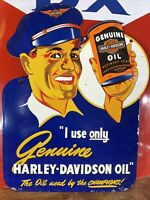 "VINTAGE ""HARLEY-DAVIDSON"" GAS & OIL DEALER PLATE HEAVY PORCELAIN SIGN 13X18 IN."