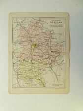 BEDFORD MAP WITH RAILWAYS-ANTIQUE PHILIPS- DATED 1890  APPROX 7inx 9in