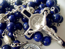 Natural 6mm Real Lapis lazuli bead catholic Rosary & Cross crucifix necklace BOX