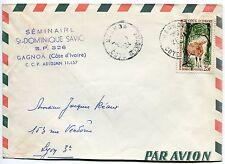 LETTRE COTE D IVOIRE ABIDJEAN POUR LYON PAR AVION  1964