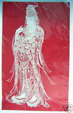Chinese Paper Cuts Guanyin Bodhisattva Red Color Very Large Single piece