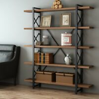 Vintage Free Standing Bookshelf 3/4/5-tier Industrial Style X shaped Bookcase US