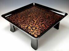 ANTIQUE JAPANESE LACQUER PHOENIX SERVING TRAY Meiji Taisho Display Stand or Desk