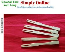 100 COCKTAIL FORK DISPOSABLE PARTY WOODEN CUTLERY WOODEN ECO PICNIC CATERING