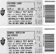 2008-2x AUSTRALIA NUOVA ZELANDA V-Day 1 & 3 TICKET - 1ST-primo TEST-@GABBA - Brisbane