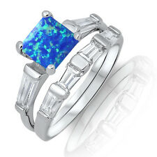 Blue Pacific Princes Square Fire Opal CZ Engagement Sterling Silver Two Ring Set