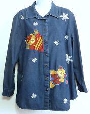 Fashion Bug Ladies Appliqued Snowflake and Bear Denim Plus Shirt - Size 18/20W