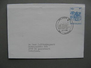 BELGIUM, prestamped cover 1983, spec canc. Station Vilvoorde 100 years, train