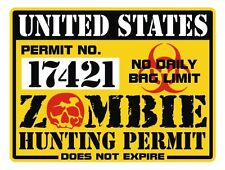 UNITED STATES ZOMBIE Hunting Permit Decal | New Mexico Utah Idaho York Jersey US
