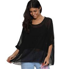 Summer Ladies Plain KIMONO Solid Chiffon Tops PLUS 18 20 22 Party Blouse Shirt